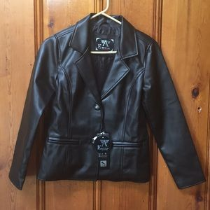 ARMANI women's  coco brown, faux leather jacket.